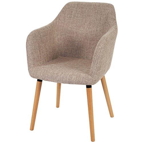 Mendler Esszimmerstuhl Malmö T381, Stuhl Lehnstuhl, Retro 50er Jahre Design ~ Textil, Creme/grau, helle Beine