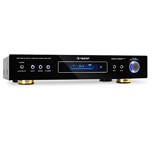 auna AMP-9200 • Surround Verstärker • 5.1-Kanal-Receiver • HiFi-Anlage • 600 Watt max. • 2 x Stereo-Cinch-Eingang • 2 x frontseitiger Mikrofon-Eingang • schwarz