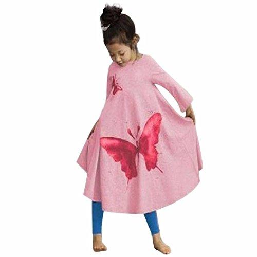 ädchen Langarm Schmetterling Prinzessin Trompete Kleid Mädchen Baumwolle Lang T-shirt Kleid(2-7Jahre) (140cm 6-7Jahre, Pink) (Party Stadt Kostüme Für Babys)