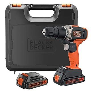 BLACK+DECKER Taladro percutor 18V, 21.000 ipm, con 2 baterías