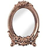 A Vintage Affair Mirror Antique Design Oval Copper Floral Base Mirror For Home Table And Wall Hanging Mirror For Home And Office Decor