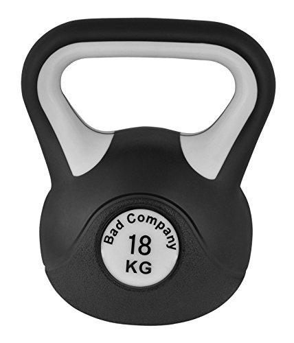 Bad Company Kettlebell als Set oder einzeln I 2 Kg – 20 Kg I Kunststoff Kugelhantel und Ablage-Rack I Schwunghantel Workout - Black & White