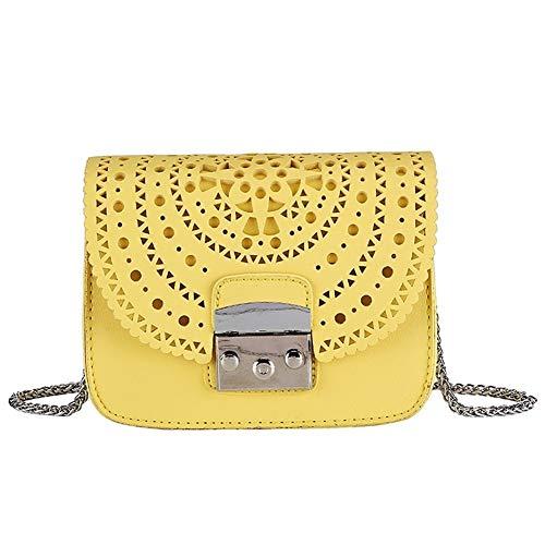 Neue Aushöhlen Frauen Umhängetasche Pu Leder Klappe Handtaschen Mode Haspe Damen Umhängetaschen Kette Solide Messenger Bags (Color : Yellow, Size : 18cm x 14cm x7cm) -