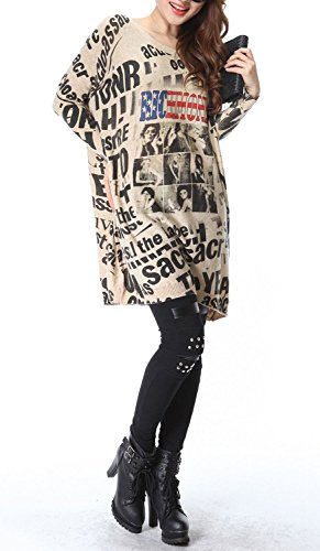 Vogue of Eden Women's Plus Size Baggy Letter and Poster Knit Sweater Dress white