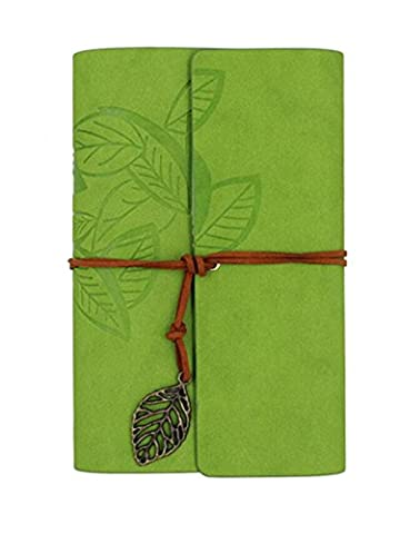 Wiftly Adult Retro Vintage Leather Journal Notebook Journal Travel Diary Pages A6 light green