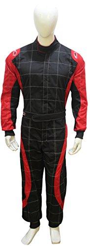 PM Sports Erwachsene Go Kart Karting Anzug Race Rally passt Poly Baumwolle One Piece Karting Anzug XXL schwarz/rot