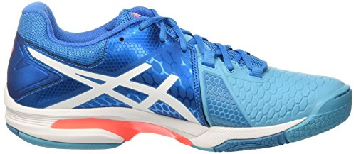 Asics Gel-Blast 7 W, Chaussures de Handball Femme Multicolore (Blue Jewel/White/Flash Coral)