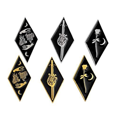 LKLKLK Dolch Und Herz, Rose Und Mond, Hände Pin Set Goth Pin Abzeichen Broschen Rucksack Tasche Hüte Zubehör Pins Großhandel