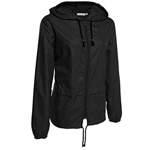 Internet Damen Leichte Regenjacke Outdoor Packable wasserdichte Kapuzen Regenjacke (schwarz, - Schwarz Militär Kostüm Hat