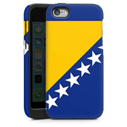 Apple iPhone 5 Housse étui coque protection Bosnie Drapeau Ballon de football Cas Tough brillant