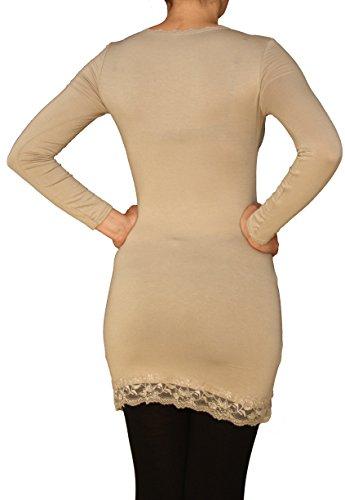 Perano -  Maglia a manica lunga  - Basic - Collo a U  - Senza maniche  - Donna Beige