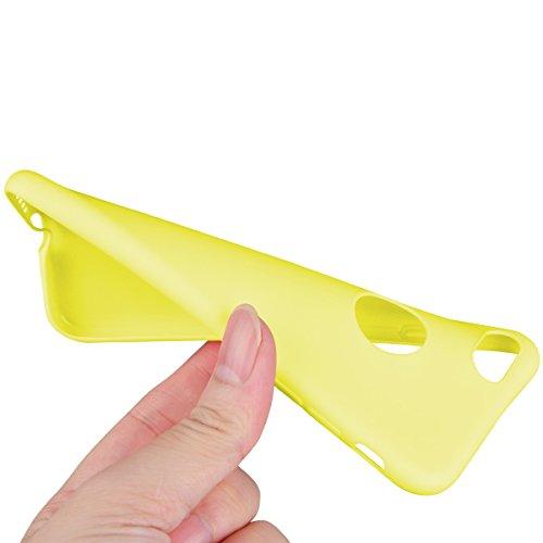 Dexnor Cover per iPhone 7 Custodia Caso, Candy Case Silicone Soft TPU Gel Morbido Sottile Protettiva Flessibile Bumper Back Cover Gomma Ultra Durevole Protezione Posteriore Slim Shell Protector per Ap Giallo