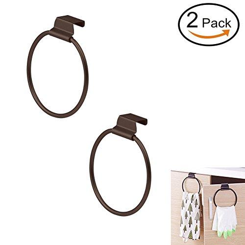 PDFans Metall Handtuchring Handtuchhalter ohne Bohren,Über das Kabinett,Towel Ring,Bronze Poliertes Finish (Pack of Two)