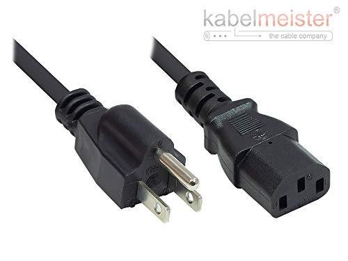 Kabelmeister Netzkabel - 5 m - Amerika/USA Netz-Stecker Typ B (NEMA 5-15P) an C13 (gerade) - UL Zertifiziert - AWG18 - SCHWARZ - Qualitätware vom KABELMEISTER -