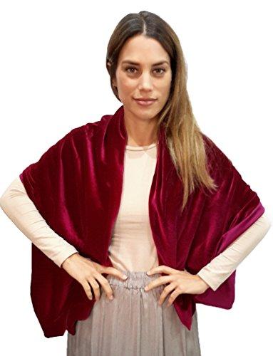 Brandelia red velvet stole scialle donna elegante complemento ideale per il vestito da partito e vestiti. rosso