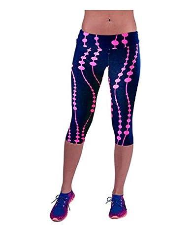 Fami Pantalon taille haute Fitness Yoga Sport, imprimé extensible Cropped Leggings (Size:M, Rose vif)