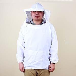 Coton Polyester Yosoo Deluxe Professional apiculture ranger Bee Pull à capuche True Veste de voile chapeau et robe Veste Smock équipement de protection avec fermeture Éclair pour les détenteurs d'abeille Blanc