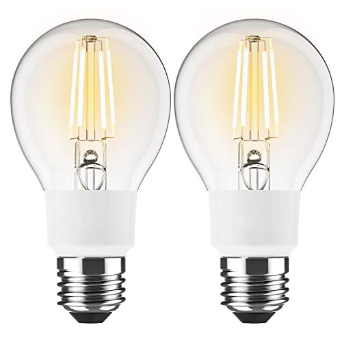 BrizLabs 2 Stück Smart LED Filament Lampe E27 WLAN Glühlampe 6W A60 Dimmbar Leuchtmittel Ersetzt 60W Glühbirne für Amazon Alexa Google Home, 650 Lumen Birne 2700K Warmweiß [Energieklasse A++]