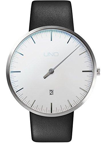 Botta Design UNO+ Jubiläumsedition Quarz Armbanduhr - Einzeigeruhr, Edelstahl, Datum, Lederband (44, Perlweiß)