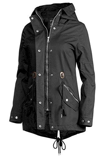 Trisens Damen Jacke ÜBERGANGSJACKE Trenchcoat Kapuze 100% Baumwolle LEICHT KURZ, Farbe:Schwarz, Größe:S - 3