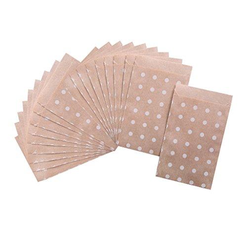 Lot de 100 sachets Papier Marron avec Beige points blancs - 9,5 x 14 cm pour Emballer, gastgeschenktüten, calendrier de l'avent Sachets à petits cadeaux, scrapbooking, etc.?; 1 A de qualité