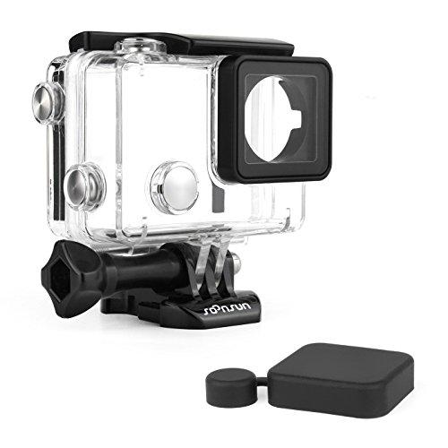 Soosun Wasserdichtes Tauchgehäuse für GoPro Hero 4/3+ / 3 Kameras Schwarz/Silber, Waterproof Housing with BacPac Backdoor