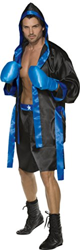 Smiffys, Herren Boxer Kostüm, Robe, Shorts, Gürtel und Boxhandschuhe, Größe: M, 36391