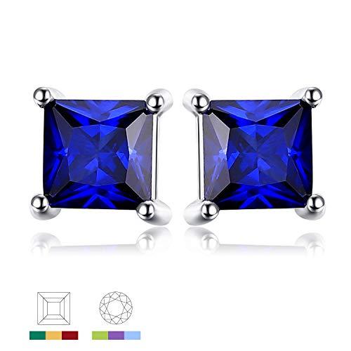 Jewelrypalace Quadrata 0.8ct Sintetico Blu Zaffiro 925 Sterling Argento Stud Orecchini