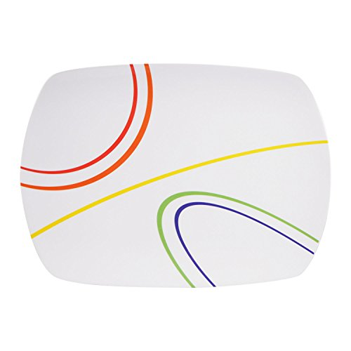 100% Melamin-Geschirr Servierplatte Color Line weiss/bunt, eckig Camping-Geschirr Tafel-Service Picknik-Geschirr Trekking Outdoor