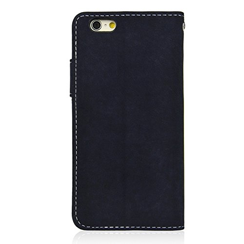 Phone case & Hülle Für iPhone 6 / 6S, Angibabe matt Horizontale Flip Leder Tasche mit Halter & Card Slots & Wallet ( Color : Brown ) Dark Blue
