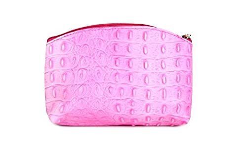 Belli ® «bellini «petite trousse de maquillage en cuir véritable-trousse-couleur au choix : 18 x 13 x 5 cm (largeur x hauteur x profondeur) - Rose - Rosa kroko, 18x13x5 cm (B x H x T) EU