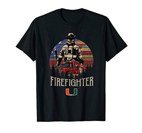 Miami Hurricanes Firefighter Retro Style T-Shirt - Apparel