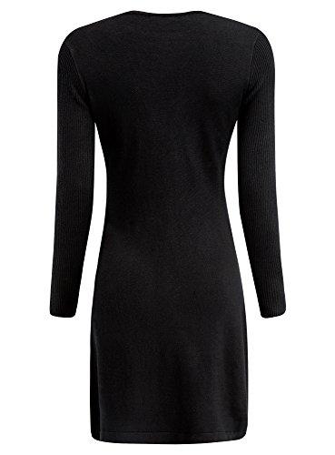 oodji Collection Damen Kleid mit Spitzenverzierung Schwarz (2900N)