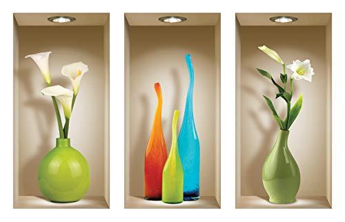 Die entfernbaren Nisha Art Magic 3D-Vinyl-Wandabziehbilder zum Selbermachen, 3er-Set, farbiger Vasen -