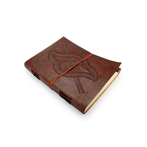 Preisvergleich Produktbild A.P. Donovan - Tagebuch in Leder-Umschlag - Notizblock in Blanko, Orient, für Skizzen, Kladde fürs Büro oder Uni - Notizbuch in Braun, DIN A4