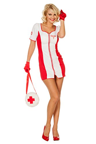 Karneval Klamotten Krankenschwester Kostüm Damen sexy weiß-rot Karneval Fasching kurz-es Kleid Maggie Dame Karneval Arzt Damenkostüm Gr 36