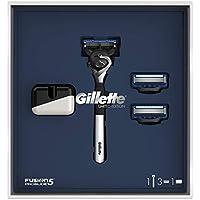 Gillette Fusion5 ProGlide Maquinilla Edición Limitada con Mango Cromado, 2 Recambios y Soporte - 1 Kit