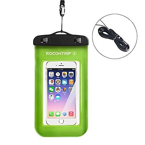 Rocontrip Coque étanche téléphone portable à sec Sac pochette avec sangle de cou amovible pour la natation, bateau ou autres sports aquatiques et compatible avec iPhone 766S Plus et d'accessoires, 14cm