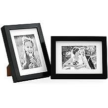 Juego de 2 marcos modernos de madera maciza profundos, en color negro, de 15x20 cm con paspartú de 10x15 cm / Marcos para fotos / Marcos para retratos / Marcos intercambiables
