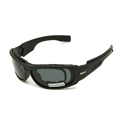 EnzoDate Daisy C6 polarizado Gafas de Sol Gafas de Militares del ejército de ballstic RX Insert Agencia de Guerra Juego tactico Gafas (Negro, Polarizado)