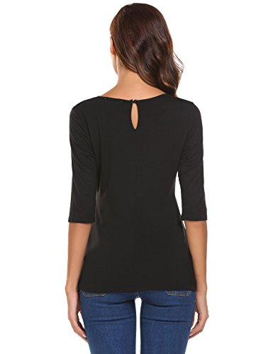 Meaneor Damen Shirt 3/4 Arm Bluse Modal Obereteil Loch T-Shirt Silm Fit Uni Top Tunkia in 3 Farbe Schwarz