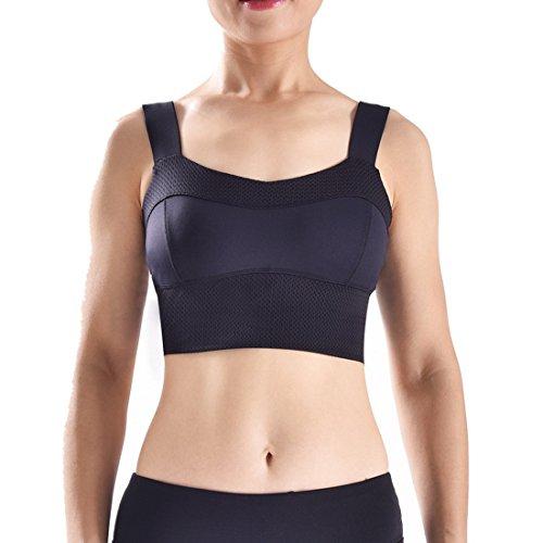 Wenyujh Femme Soutien Gorge Yoga Résistant aux Chocs Elastique Sans Armature Brassière Sport Gym Fitness Musculation Noir