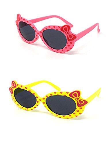 2 x Kinder Kids Mädchen 1 rosa 1 Gelbe stilvolle Hello Kitty Style UV400 Sonnenbrille (Kostüme Aviator Kleinkind)