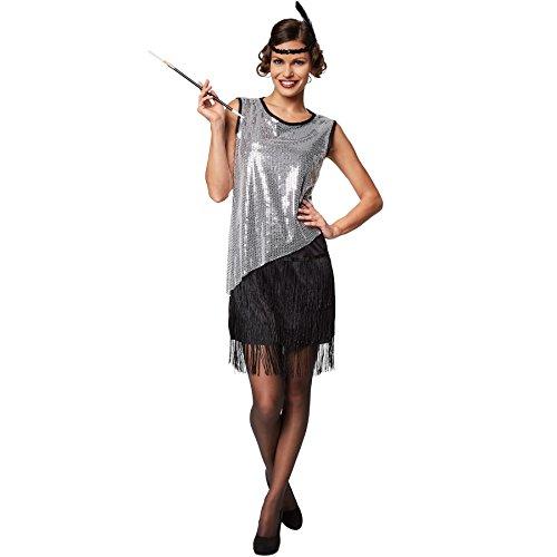 stüm South Carolina | Kurzes, sexy Kleid | Moderne Metallik-Optik | Inkl. Haarband mit Feder (XL | Nr. 301603) (Zwanziger Jahre Outfit)