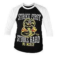Karate Kid officiellt licensierad Cobra Kai No Mercy baseboll 3/4 ärm t-shirt (svart)