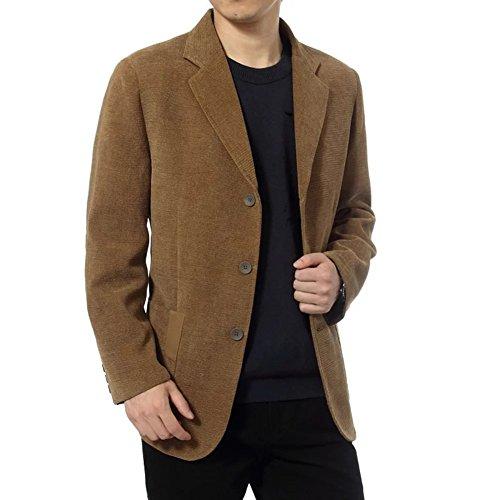 BiSHE Mens Cord Blazer Ellenbogen Patches Anzüge Mantel Smart formales Abendessen passt Jacke Herren (Cord-anzug)