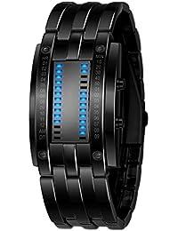 Xinantime Relojes Hombre,Xinan Acero Inoxidable Relojes Deportivos de Lujo LED Digital Pulsera (Negro