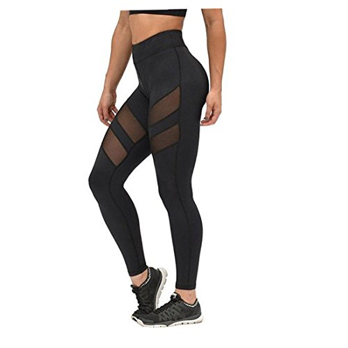 FORH Damen High Waist Skinny Sport Leggings Klassisch vintage Running Pants Patchwork Mesh Yoga Hose Fitness Gym Laufen Skinny Stretch Hose (XL, Schwarz) (Baumwoll-vintage-leggings)