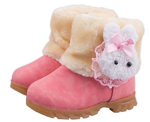 Arrowhunt Baby Girls Winter Fur Shoes Kids Rabbit Warm Snow Boots Pink by Arrowhunt
