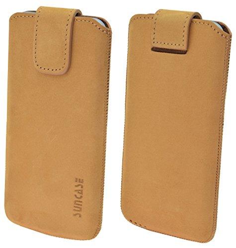 Suncase ECHT Ledertasche Leder Etui für iPhone X Tasche (mit Rückzugsfunktion und Klettverschluss) antik-cognac antik-camel